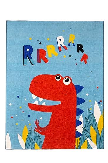Aminata Kids Teppiche Kinderzimmer Jungen Dino Dinosaurier 95x125