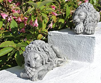 Pair Of Stone Lions Statues Chatsworth Lion, Garden Ornaments Cornwall  Stoneware, Gift Idea