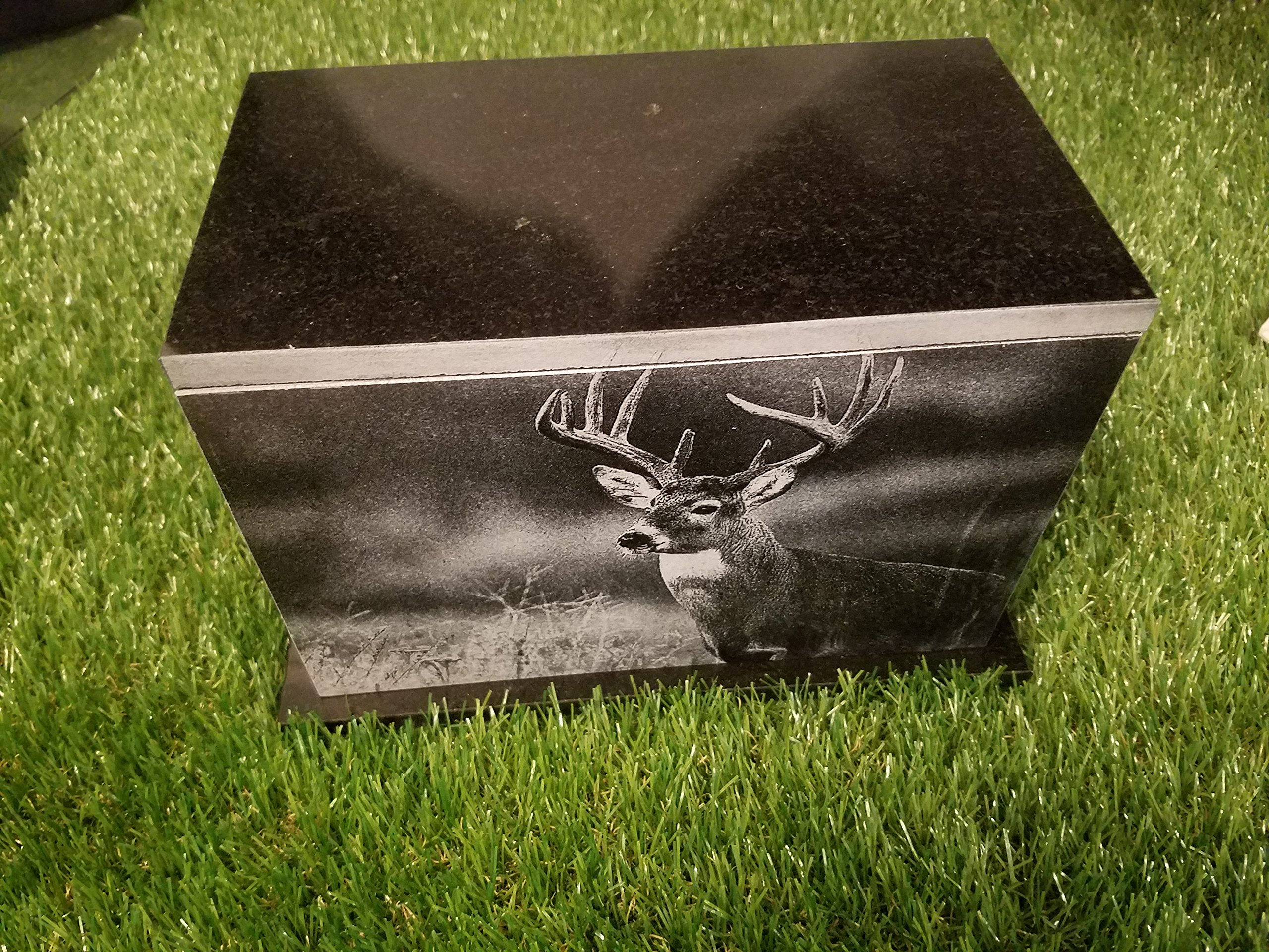 175 Cubic inches Human Granite Urn Engraved Deer Hunting Bass Fishing 175 CU In