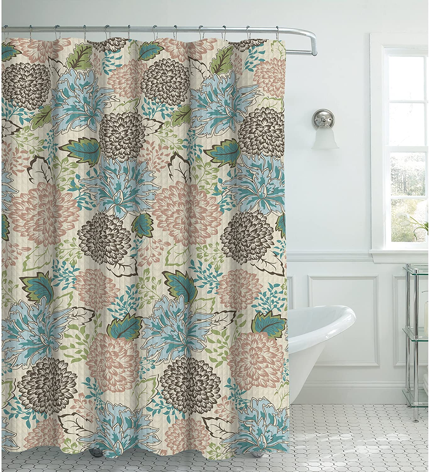 Creative Home Ideas Faux Linen 13-Piece Shower Curtain with Metal Roller Hooks, Sonrie