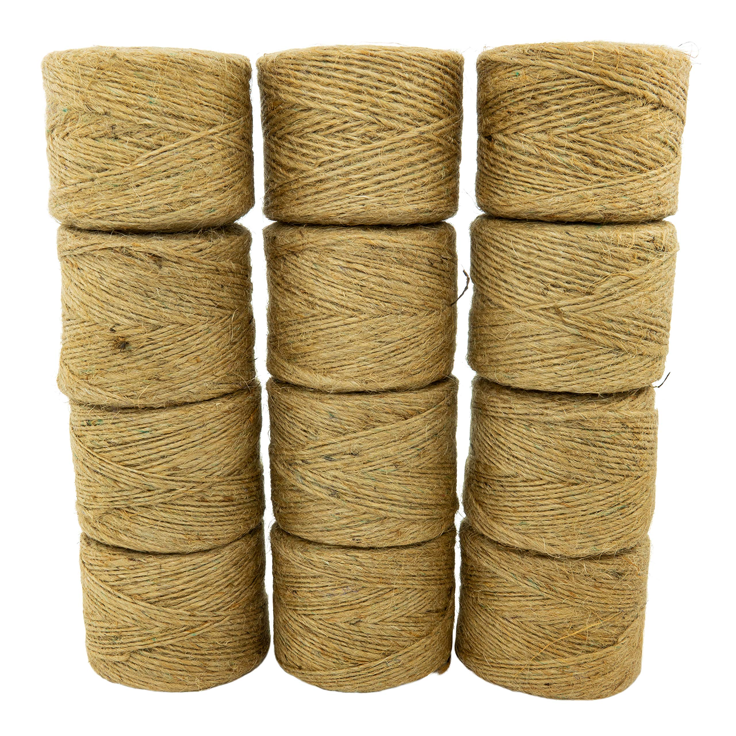 Jute Twine (12 Pack) - SGT KNOTS - 100% All-Natural Jute Fibers - Emergency Fire Starter String - All-Purpose Crafting Twine - for Home Improvement, Gardening, Camping, DIY Projects, More (285 feet) by SGT KNOTS