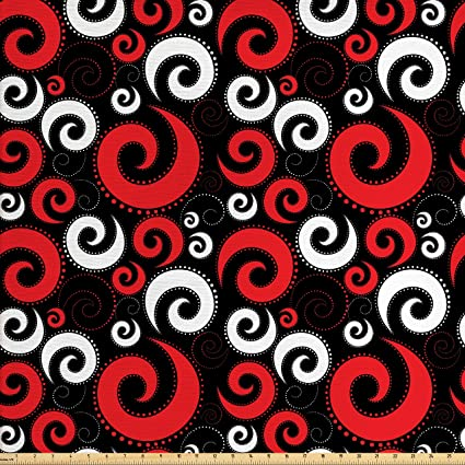 amazon com ambesonne red and black fabric by the yard modern
