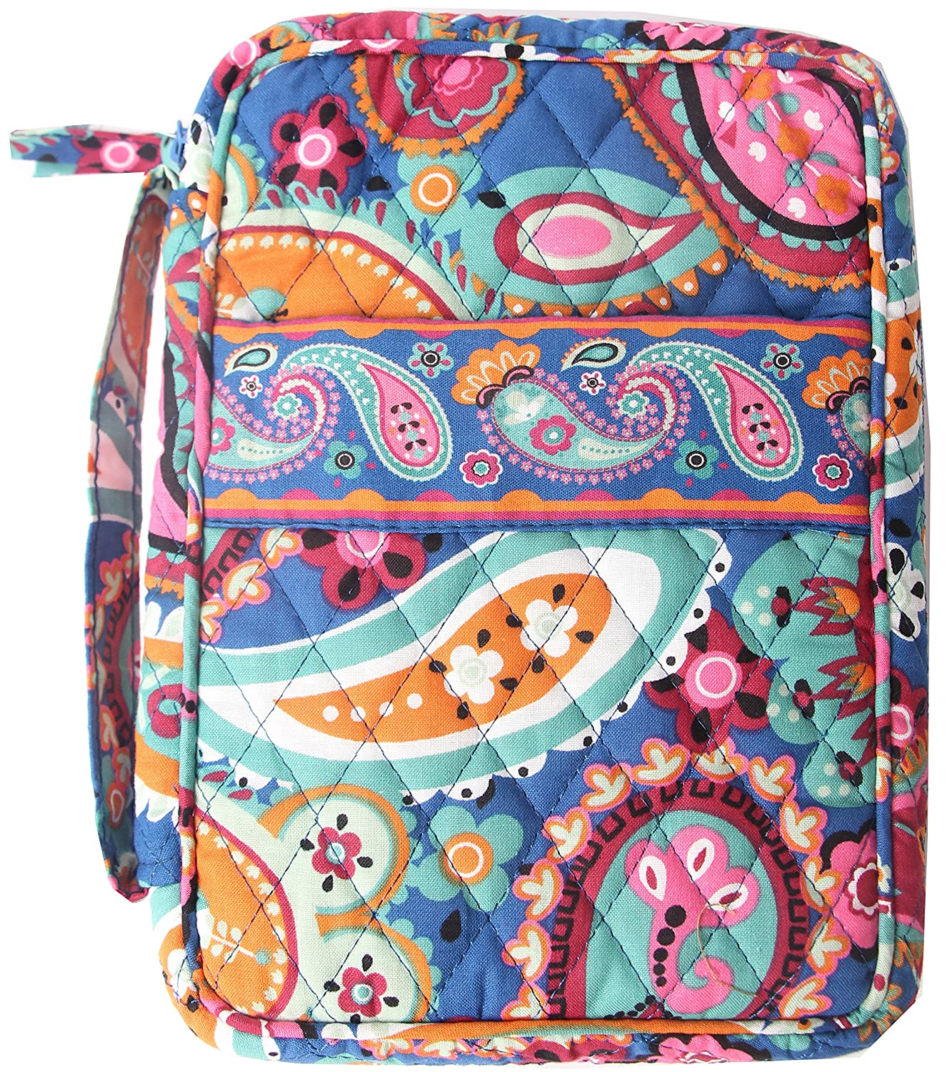 DIWI Large Sizes 10 X 7 X 2.75 inches Bible Cover Quilted Good Book Cover Quilted Cotton Fabric Bible Cover Zip Closer Slip Pocket Pink Blue (L, 1804ER Afternoon Garden) M7