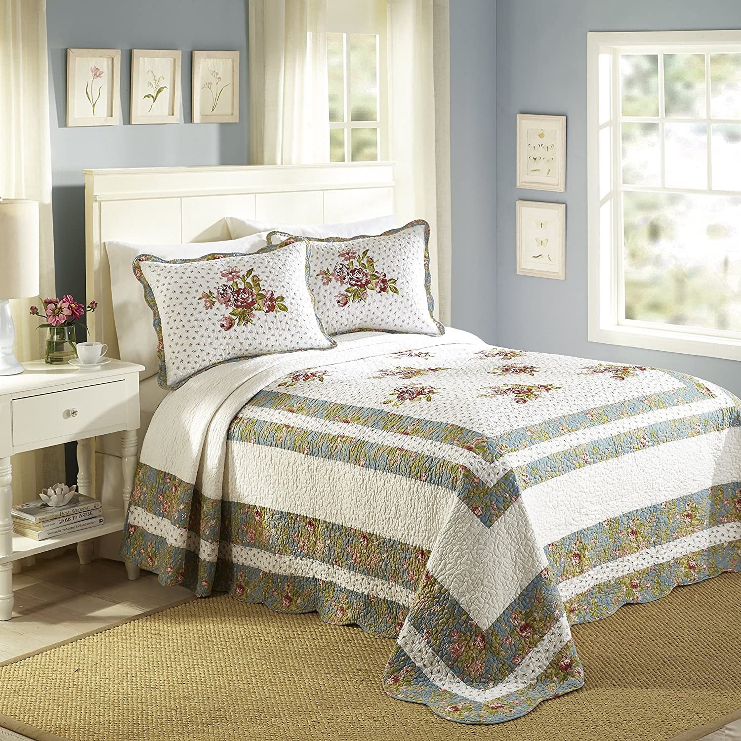 Modern quilt bedding - Amazon Com Modern Heirloom Collection 120 By 118 Loretta Cotton Quilted Bedspread King Home Kitchen