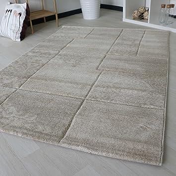 Teppich Kariert Mit Marmor Design In Creme Beige Kurzflor Für Wohnzimmer  Modern Trendig In Verschiedenen Größen