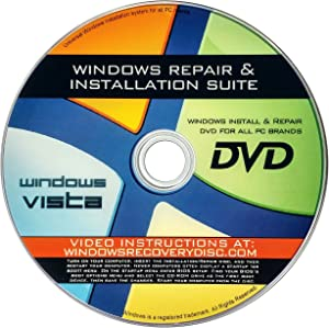 Recovery, Repair & Re-install disc compatible w/ All Versions of Windows Vista 32/64 bit & PC makers