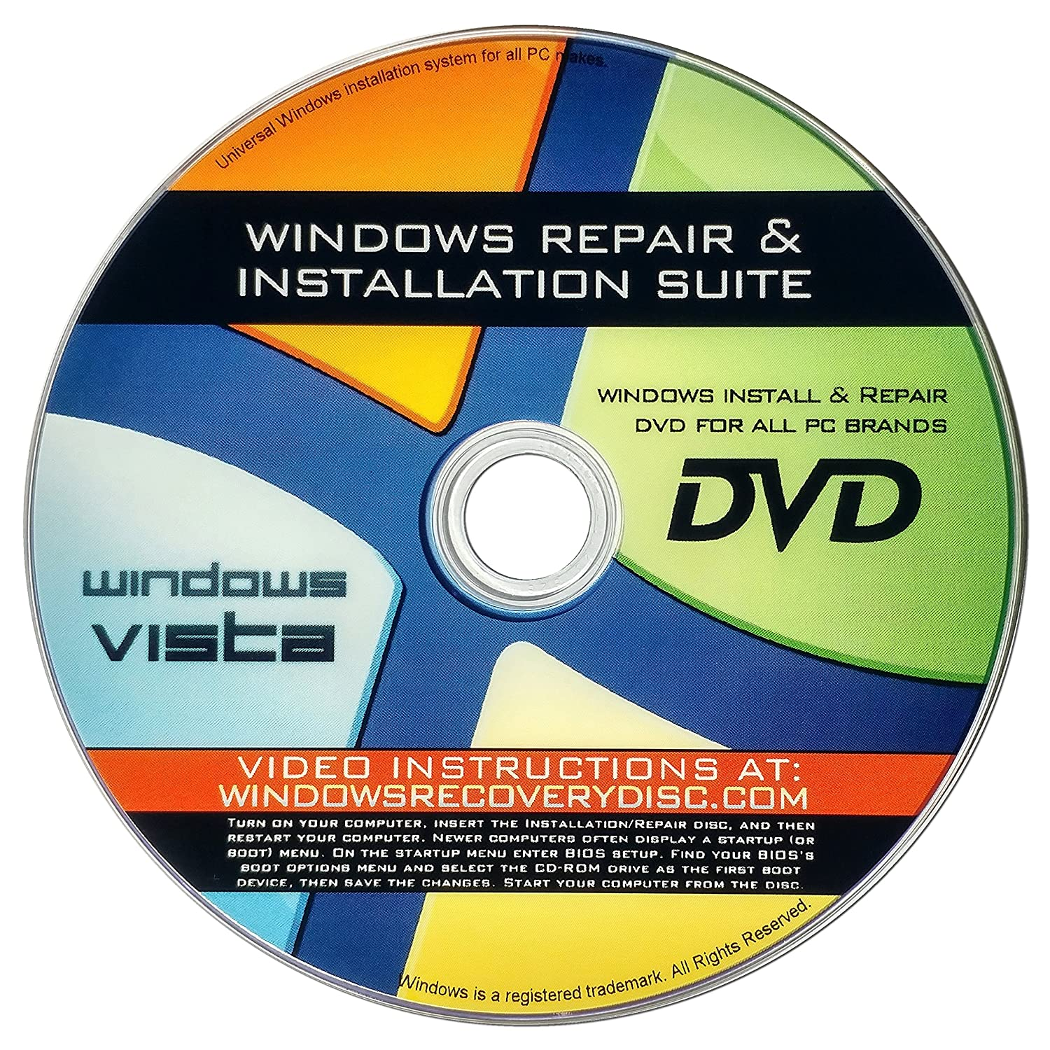 Windows Vista Re-Install, Reinstallation, Repair, Recovery For All 32 Bit,  64 Bit PCs including HP, Lenovo, Dell, Toshiba, Sony, Asus, Acer, Compaq,