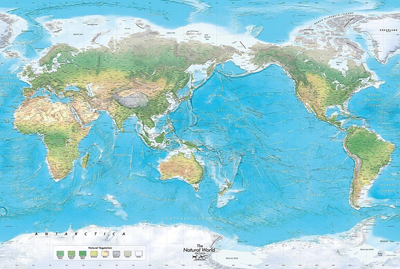 Amazon Com Academia Maps Natural Physical World Wall Map Large
