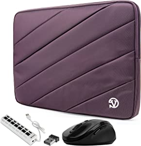 Plum Purple Protective Shock Absorbing Laptop Sleeve Case for Dell Inspiron, Latitude, Education, ChromeBook Enterprise, Vostro, XPS 13.3 inch Series (Includes USB Hub and Mouse)