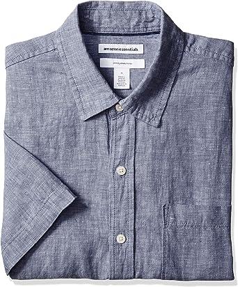 Amazon Essentials - Camisa de lino a rayas, de manga corta y ...