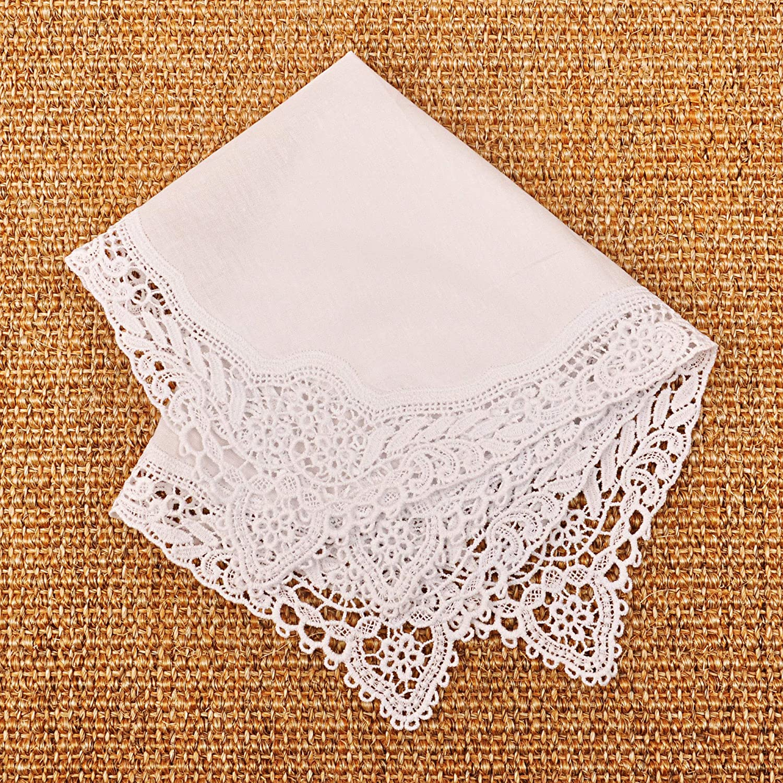 Milesky Damen Taschentuch mit H/äkelspitze Wei/ß 100/% Baumwolle Gr/ö/ße 30x30cm