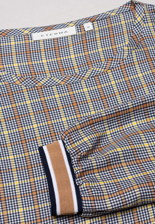 Eterna Long Sleeve Blouse Modern Classic Checked Blu Marino/Marrone