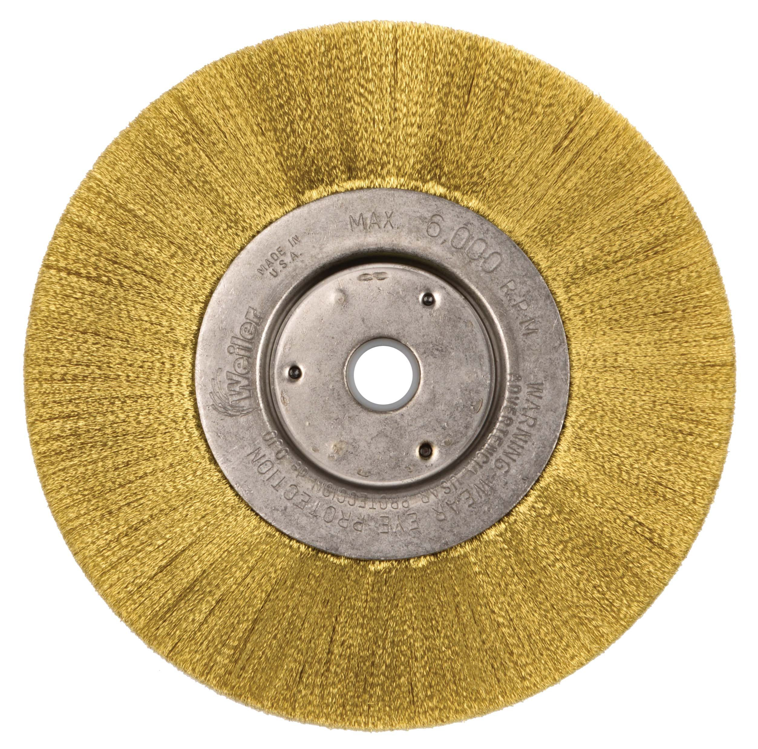 Weiler 1415 Narrow Face Crimped Wire Wheel, 6'', 0.05'' Brass Fill, 5/8''-1/2'' Arbor Hole (Pack of 2)