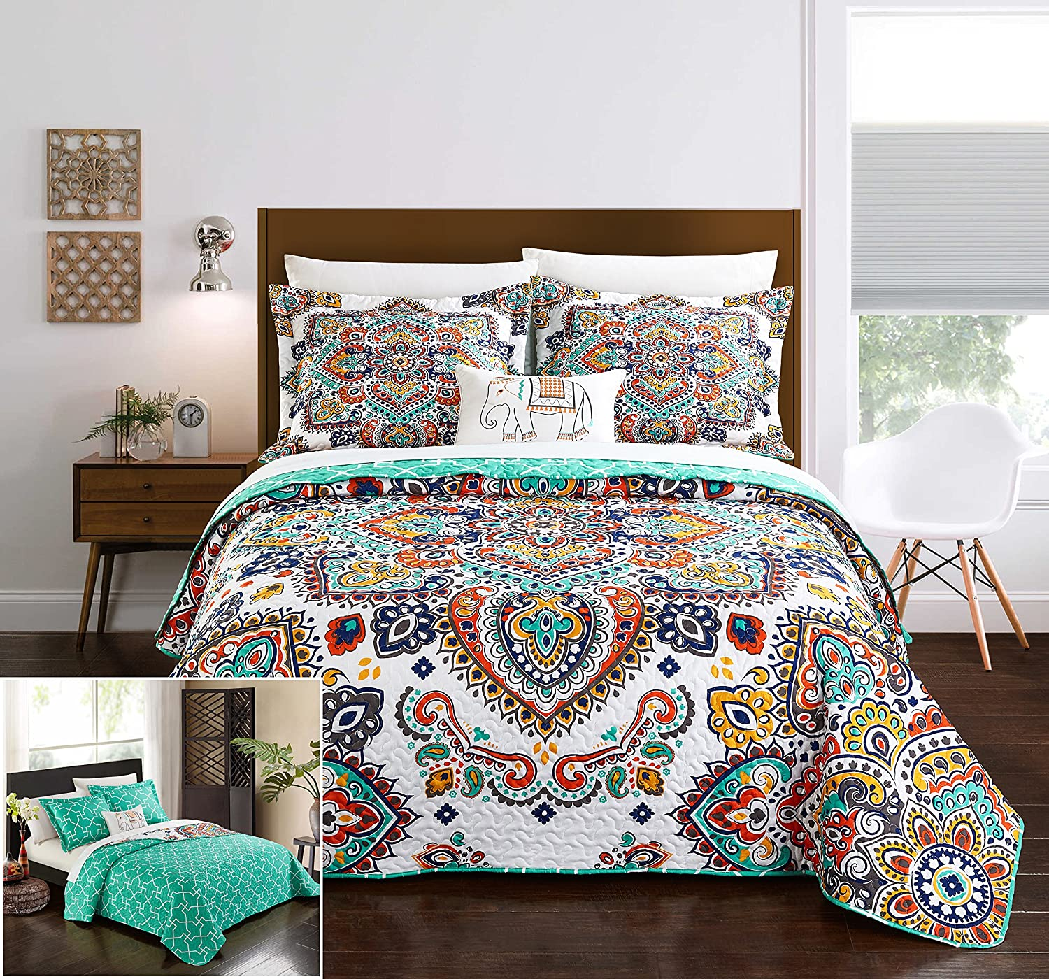Chic Home 3 Piece Chagit Reversible Boho-Inspired Print and Contemporary Geometric Patterned Technique Twin Quilt Set Aqua