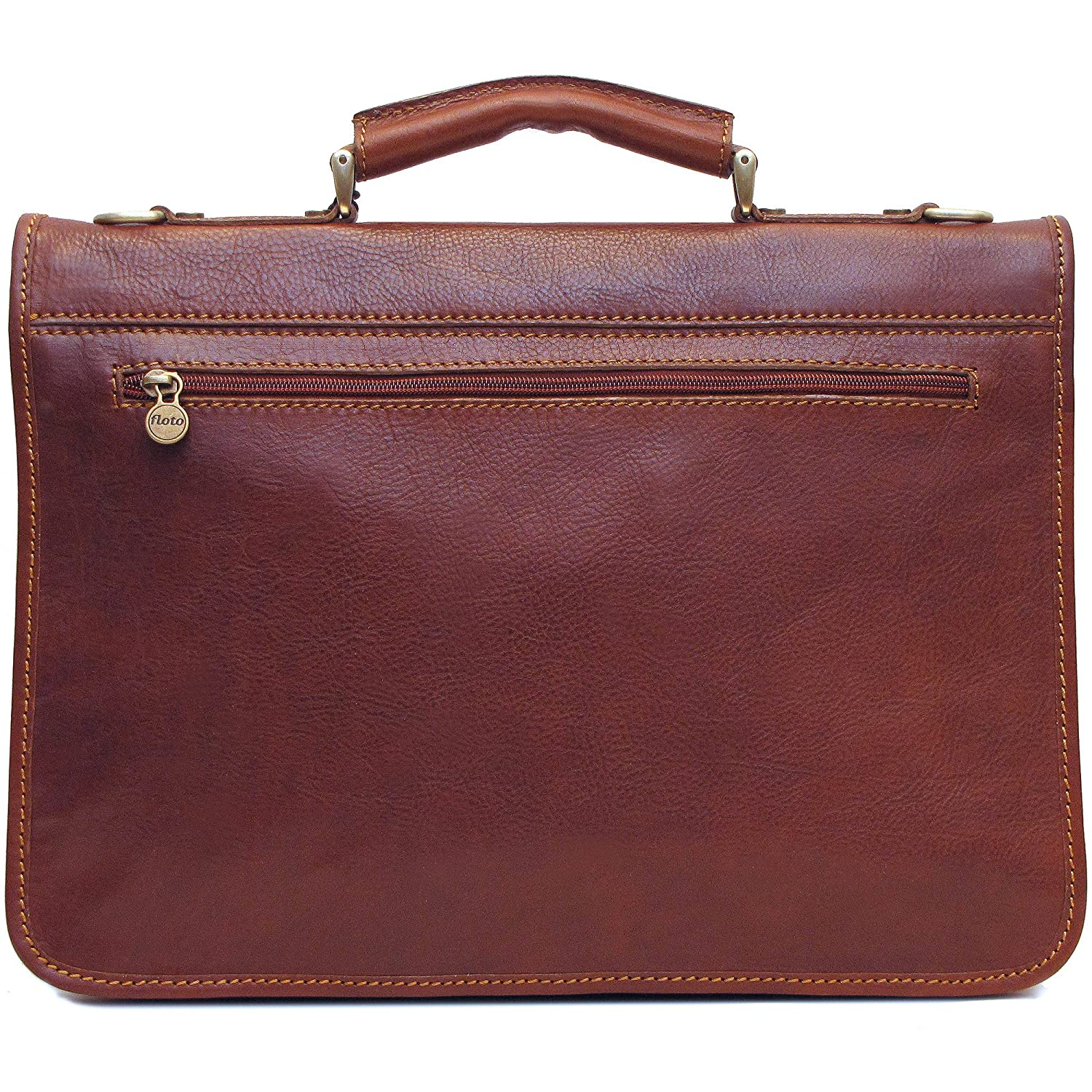 352dec01b5 Amazon.com  Floto Leather Briefcase Messenger Bag in Brown Italian  Calfskin  Floto  Computers   Accessories