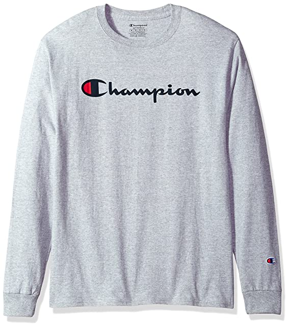 8230f82b29c4 Champion Men's Classic Jersey Long Sleeve Script T-Shirt, Light Steel, ...