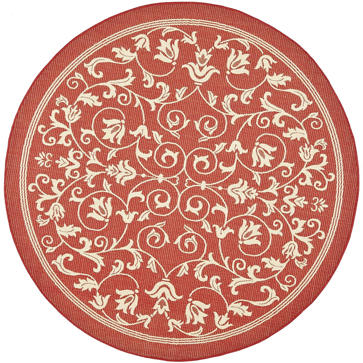 """Safavieh Courtyard Collection CY2098-3707 Red and Natural Indoor/ Outdoor Round Area Rug (67"""" Diameter)"""