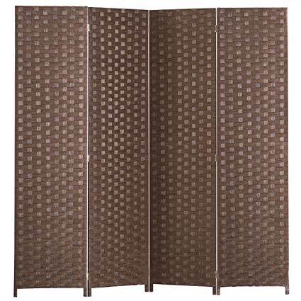 Amazoncom MyGift 4 Panel Hinged Room Divider Woven Paper Rattan