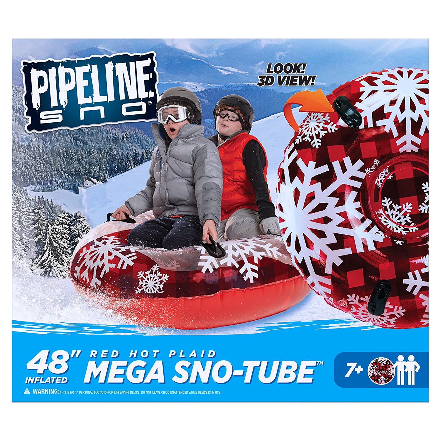 a8075896562 Amazon.com  Pipeline Sno Red Hot Plaid Inflatable 2 Person MEGA Snow Tube  with 4 Grip Handles and Repair Kit