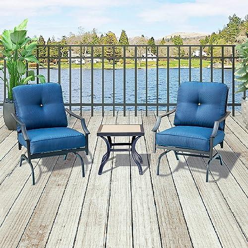 Top Space Bistro Table Set Patio Conversation Set Bar Stools,Metal Outdoor Furniture