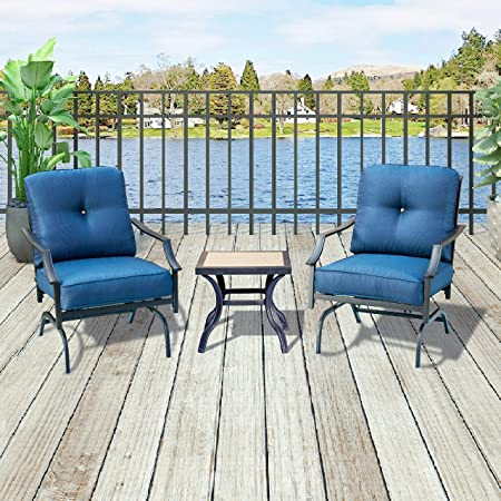 Top Space Bistro Table Set Patio Conversation Set Bar Stools,Metal Outdoor Furniture with 2 Chairs and 1 Coffee Table 3 PCs, Blue