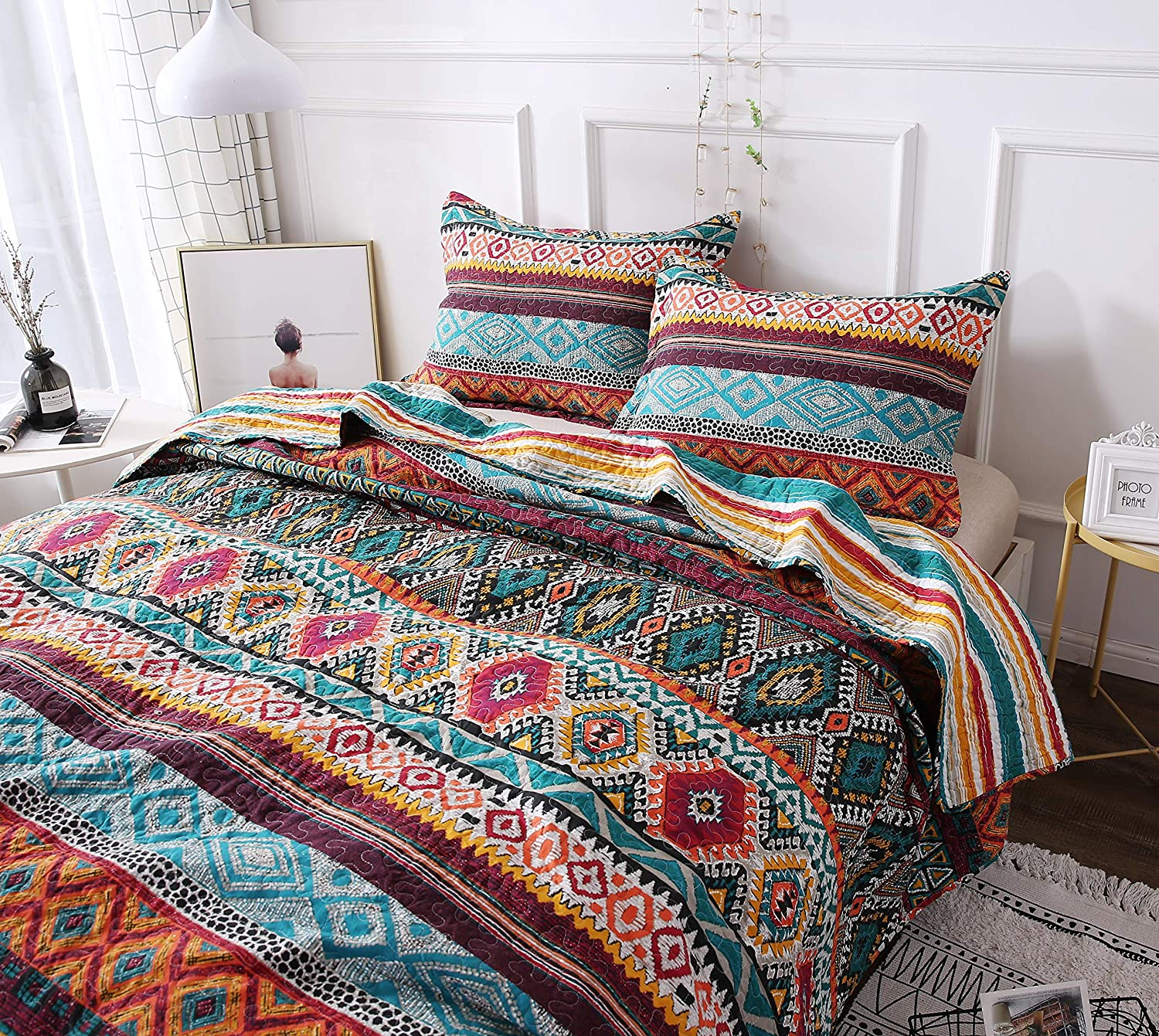 DaDa Bedding Southwestern Aztec Bedspread - Bohemian Desert Tribal Quilted Set - Bright Vibrant Multi Colorful Diamond - Twin - 2-Pieces 1048-T