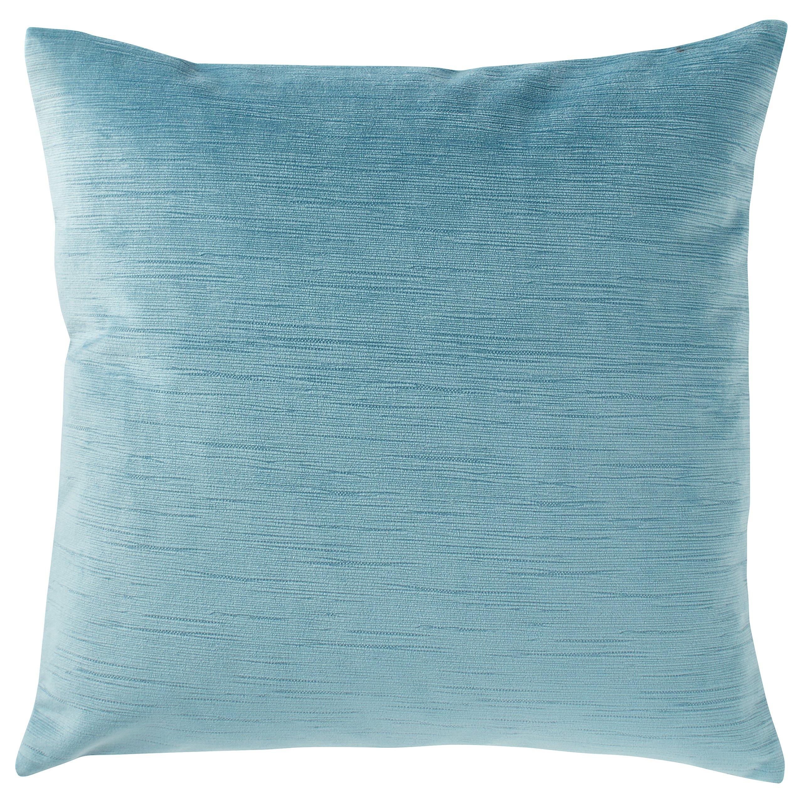 Stone & Beam Striated Velvet/Linen-Look Pillow, 17'' x 17'', Laguna