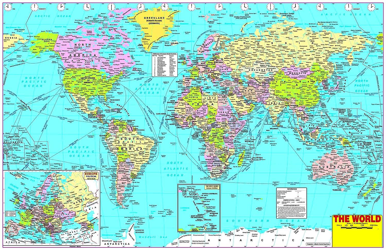 Buy WORLD POLITICAL MAP WALLPAPER ON FINE ART PAPER HD ...
