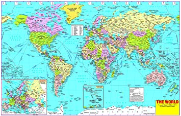 Buy WORLD POLITICAL MAP WALLPAPER ON FINE ART PAPER HD ...