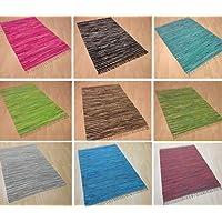 Handwebteppich Fleckerlteppich Flickenteppich gestreift 100% Baumwolle Handweb Teppich Fleckerl Waschbar NEU (Taupe gestreift, ca. 140x200 cm)
