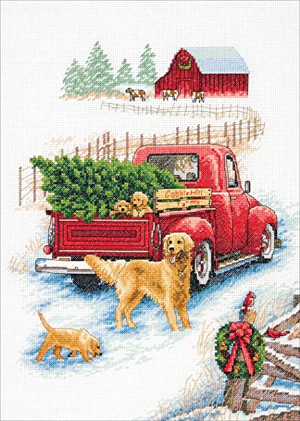 14 Count Ivory Aida Cloth Dimensions Winter Ride Counted Cross Stitch Kit 10 x 14