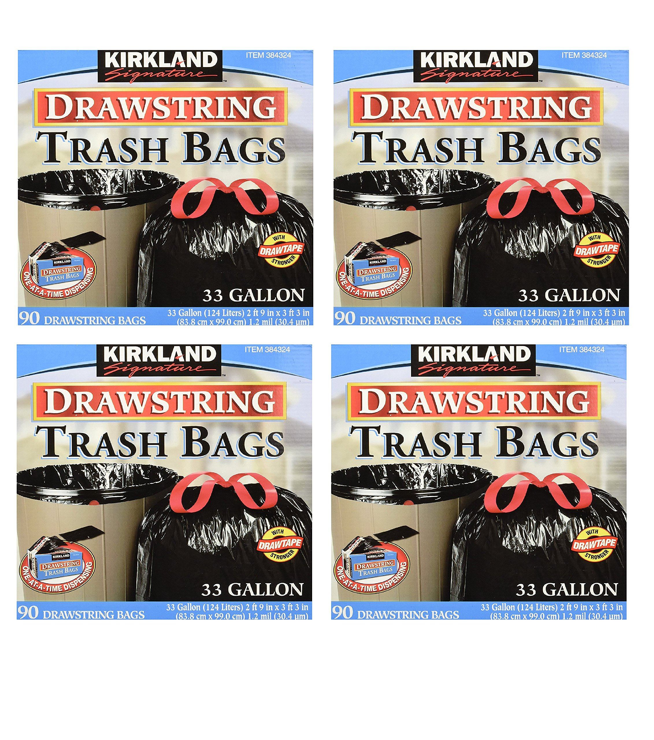 Kirkland Signature Drawstring Trash Bags - 33 Gallon - Xl Size - (90 count) (4 Pack)