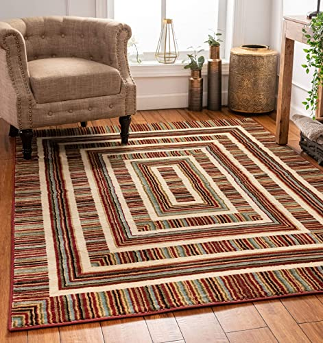 Well Woven Boxes Geometric Modern Area Rug Red Multicolor 8×10 8×11 7 10 x 9 10