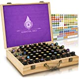 Essential Oil Wooden Box - Storage Case With Handle. Holds 68 Bottles & Roller Balls. Natural Plant Based Wax Finish. Large Organizer Best For Keeping Your Oils Safe. Free Padding And EO Labels