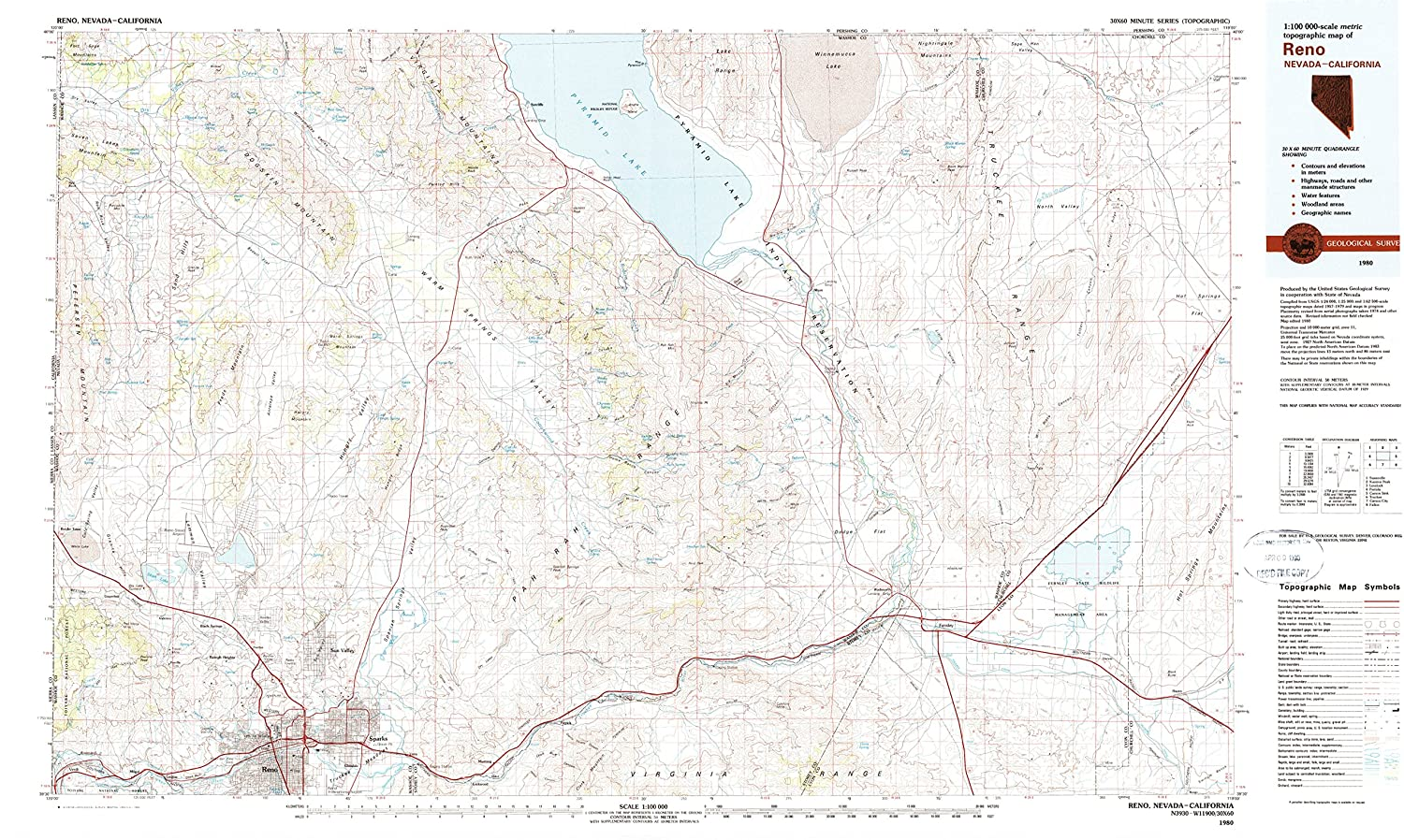 Topographic Map Of Nevada.Amazon Com Yellowmaps Reno Nv Topo Map 1 100000 Scale 30 X 60