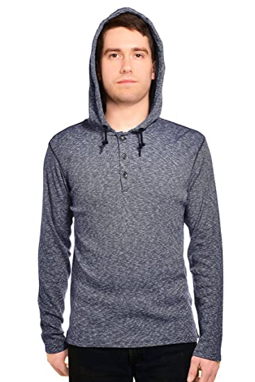 06480396f349 DKNY Jeans Mens Long Sleeve Hooded Henley M Dark Blue at Amazon Men s  Clothing store