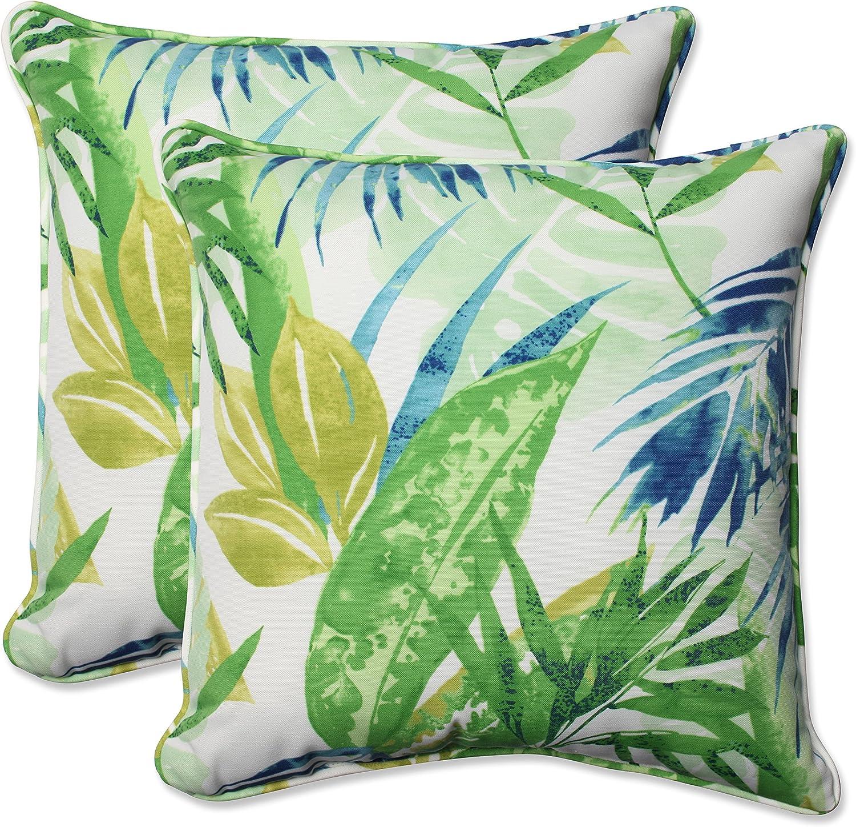 Pillow Perfect Outdoor Indoor Soleil Throw Pillow Set of 2 , 18.5 , Blue Green