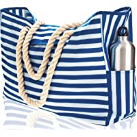 Beach Bag. 100% Waterproof. With Phone Case, Coton Rope Handles, Top Magnet Clasp, Two Outside Pockets. Blue Stripes Shoulder Beach Tote has Built-In Keyholder, Bottle Opener