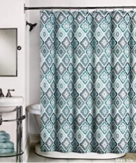 Peri Home Fabric Designer Shower Curtain Blue Aqua Taupe Gray White Geometric Tile Pattern
