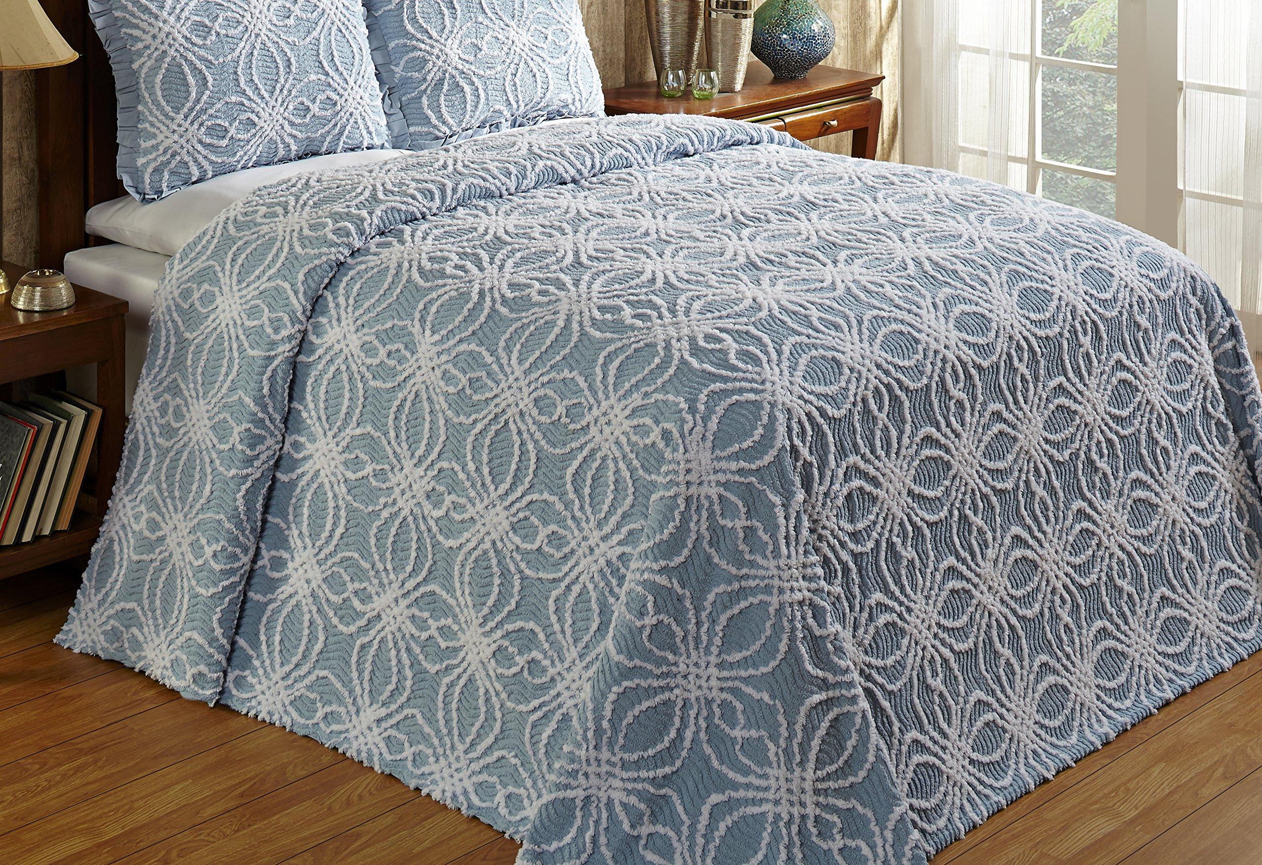 Better Trends / Pan Overseas 81 X 110 Inch Rosa Bedspread, Twin, Blue