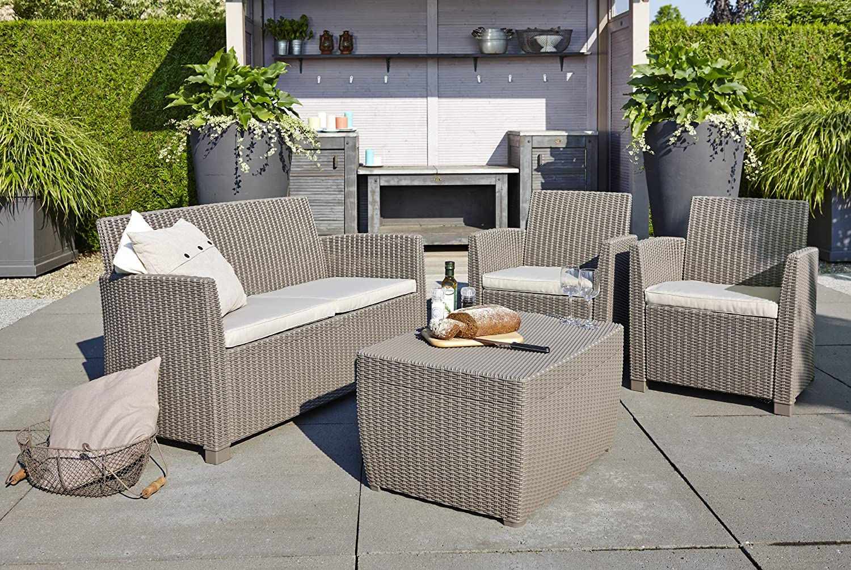 Amazon.de: Allibert 212405 Lounge Set Corona mit Kissenbox-Tisch (2 ...