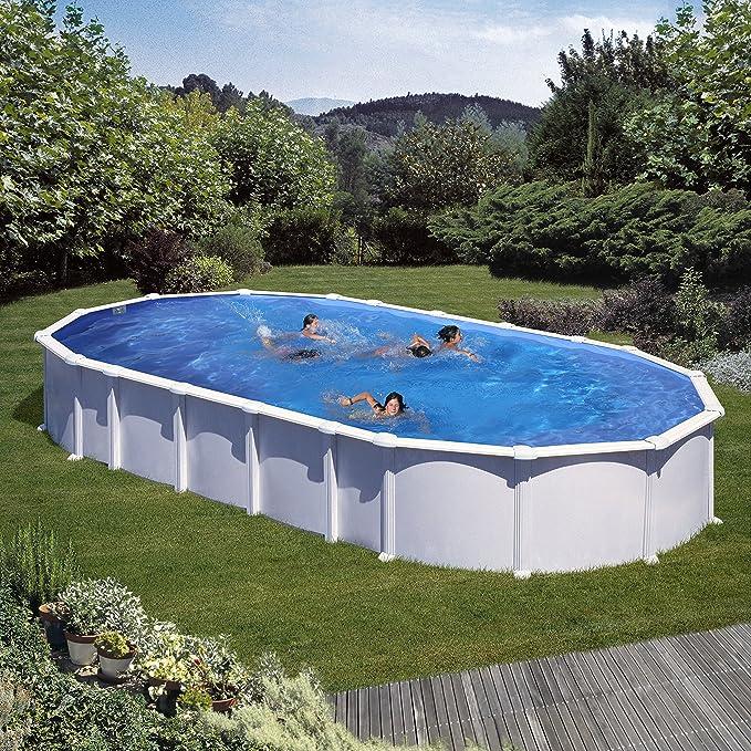 Gre KITPROV8188- Piscina Haiti Desmontable Ovalada de Acero Color Blanco 800x470x132 cm: Amazon.es: Jardín