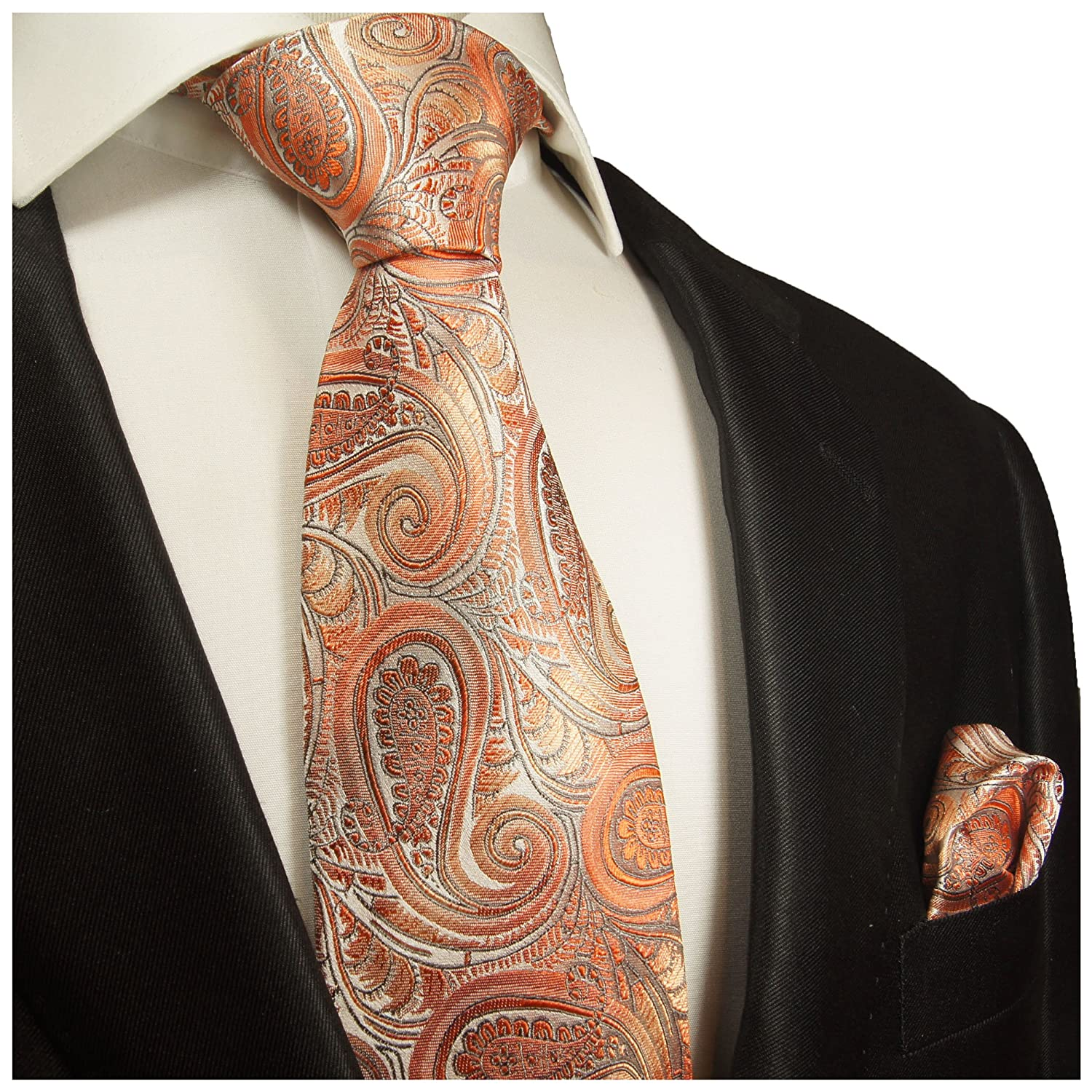 100/% Silk Tie and Pocket Square Coral Paisley