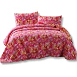 DaDa Bedding Hawaiian Breeze Reversible Quilted Coverlet Bedspread Set - Bright Vibrant Multi Colorful Pink Orange Yellow White Print - Queen - 3-Pieces