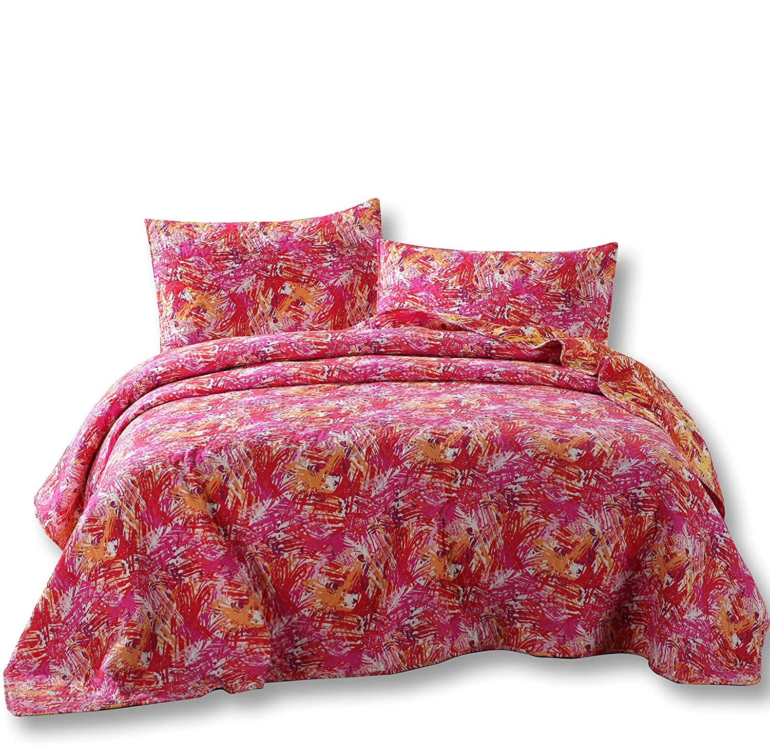 DaDa Bedding Starburst Pop Reversible - Multi Colorful Quilted Bedspread Set - Bright Vibrant Pink Orange Purple - Twin - 2-Pieces KBJ1625-T