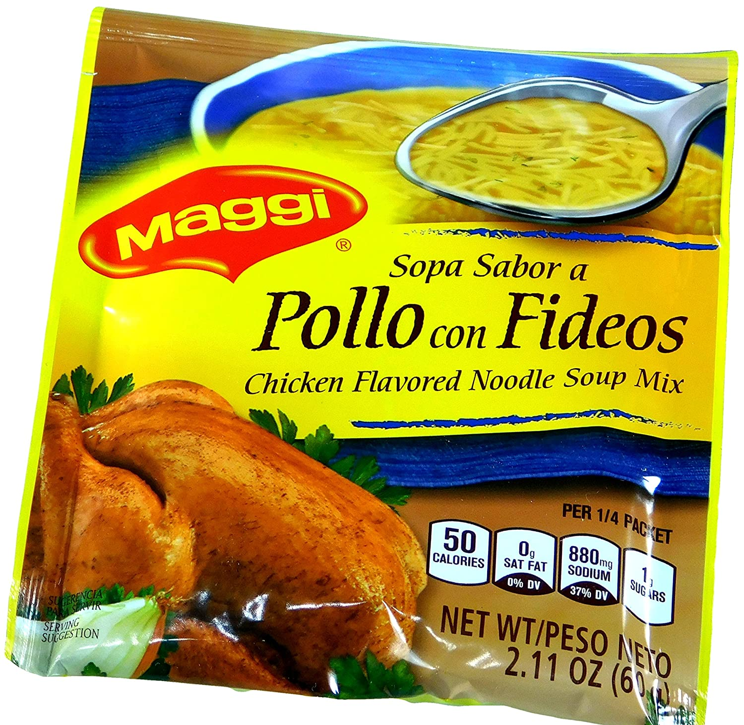 Amazon.com : Maggi Imported Sopa Sabor a Pollo con Fideos Chicken Flavored Noodle Soup 2.11 oz / 60 gr. (Pack of 12) : Grocery & Gourmet Food