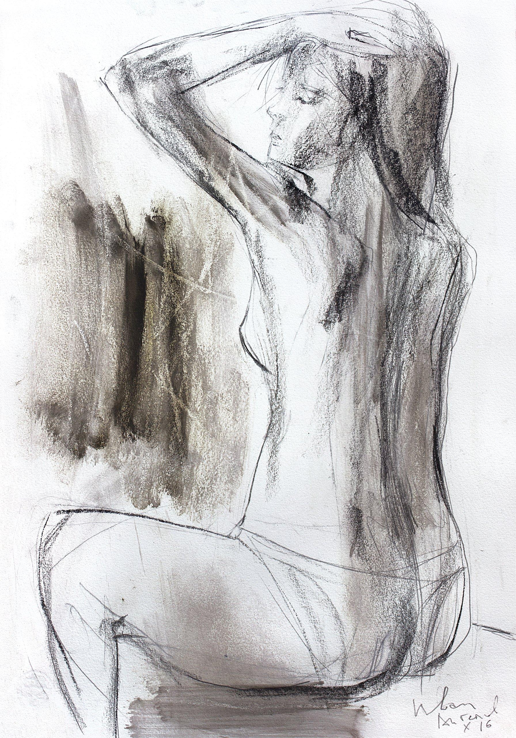 Charcoal drawing Original Artistic sketch Nude Modern Figurative graphic art Woman Wall decor