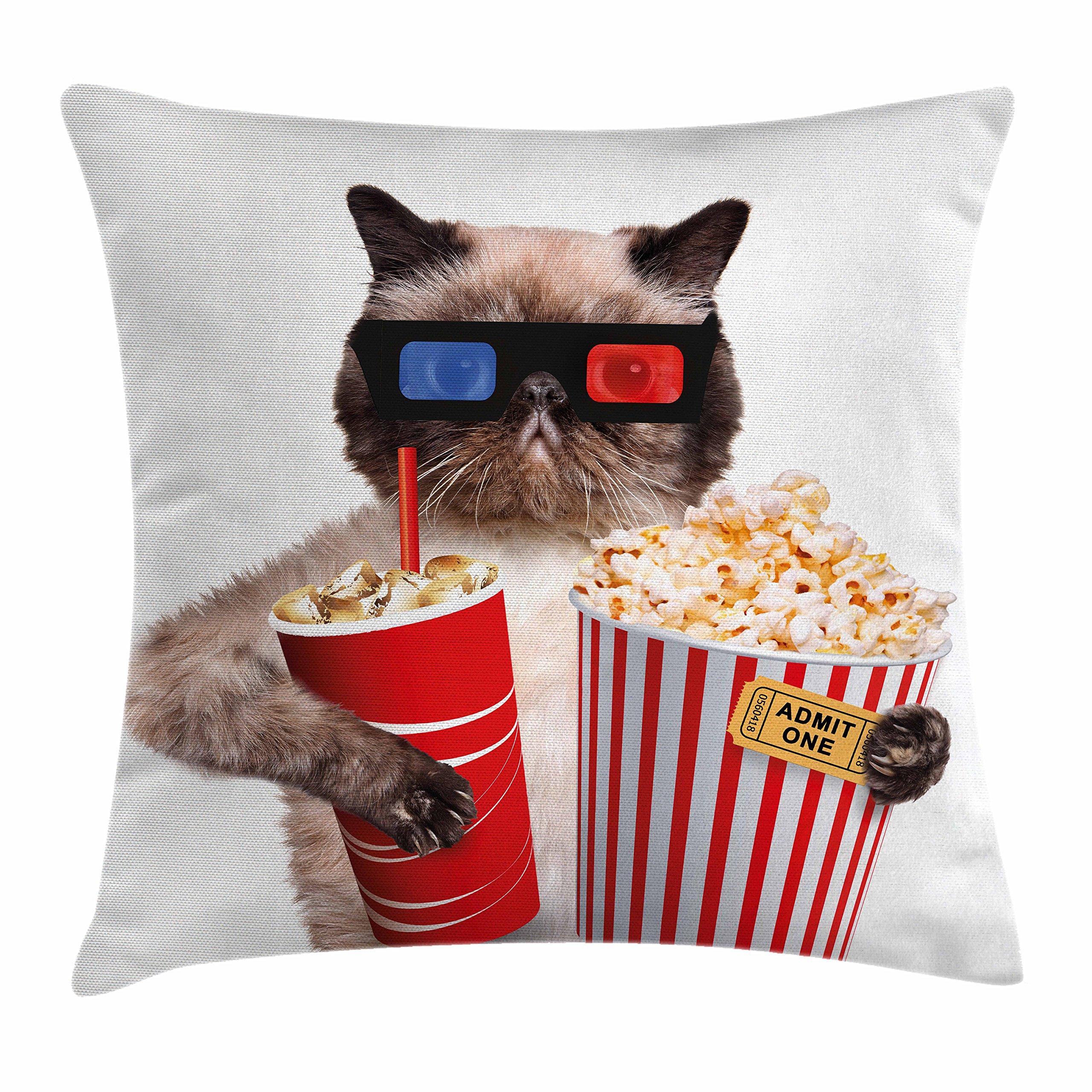 Ambesonne Movie Theater Decor Throw Pillow Cushion Cover, Cat with Popcorn and Drink Watching Movie Glasses Entertainment Cinema, Decorative Square Accent Pillow Case, 24 X 24 inches, Multicolor