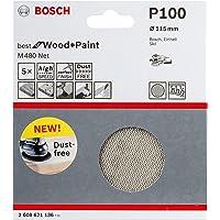 Bosch Professional 5 Stuks Schuurblad M480 Best for Wood and Paint (hout en verf, Ø 115 mm, korrelgrootte K100…