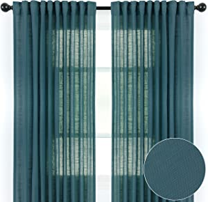 Chanasya 2-Panel Soft Textured Semi Sheer Curtains for Window Living Room Bedroom Kitchen Patio Office - Natural Light Filtering Privacy Window Treatment Drapes - 52 x 63 Inches Long - Blue